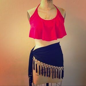 Black Sarong Wrap Skirt with Shells